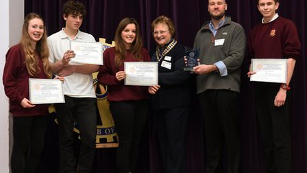 St Ivo's team of Melissa Blem-Filby, Sam Shook, Fiona Marshall and Joseph Vernon are presented their