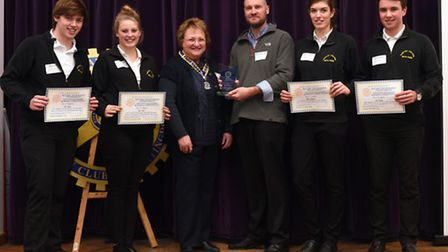 Sawtry College's team of Josh Aylett, Lois Webb, Giulia Giaffreda and Jack Gadsby are presented thei