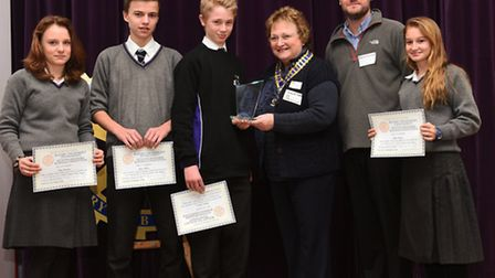 Katie Lawrence, Lewis Meakin, Harrison Young and Jessica Simpson are presented their certificates b
