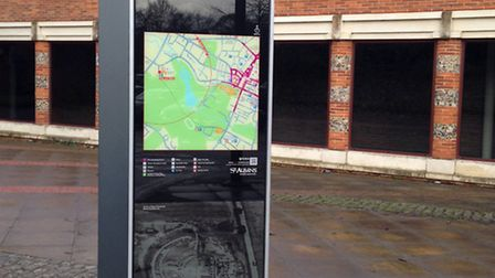 New monolith sign installed at Verulamium Museum, Abbey station, Holywell Hill, St Peter's Street a