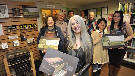 Evelyn Glennie, front, at Oxfam with staff and volunteers (from left) Fran Maddocks, Stephen McAdam,