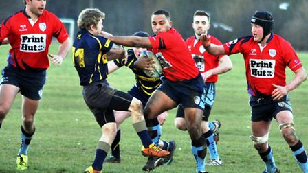 Grant Hobbs in the thick of the action during St Neots' 41-32 victory against Thorney on February 21