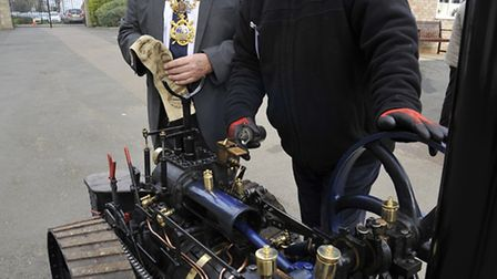 Huntingdon mayor Bill Hensley and Dave Coulson from Warboys with a traction engine at last year's sh