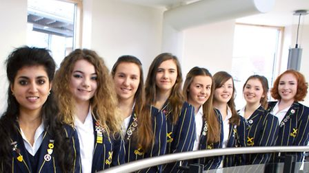 Eight of the nine girls who have received offers from Oxbridge. Courtney Marsden not pictured – Jul