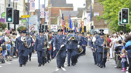St Neots granting Freedom of the Town, presented to USAF and Royal Anglians, Wyton Band.