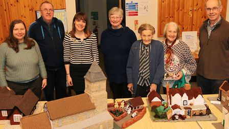 Age UK's Alice Woudhuysen (stripey top), Sandridge900+'s Christine Nutton (centre) and visitors to t
