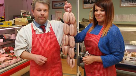 Knibbs butcher Paul Williams and deli counter worker Carolyn Hale in their Royston store which is cl