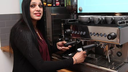 Investor and Head Chef at the Bhaker House Raj Kaur uses the coffee machine