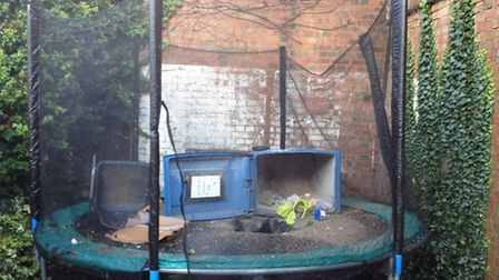The trampoline which was ruined by building material from the Odyssey Cinema in St Albans