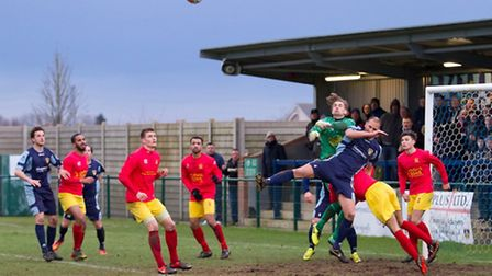 New St Neots signing Mat Mitchel-King in action during their 2-1 victory over Banbury United on Janu