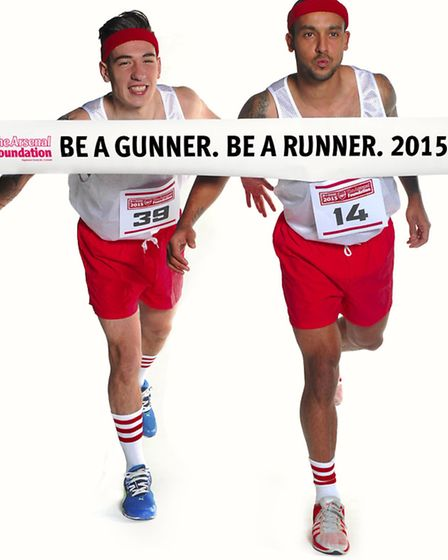 Hector Bellerin and Theo Walcott promote Arsenal's Be a Gunner Be a Runner fundraiser. Photo courtes