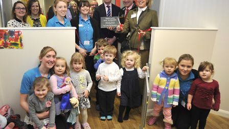 The opening of Tree Tots Nursery, Hinchingbrooke Hospital, by (right - left) Lady De Ramsey, cutting