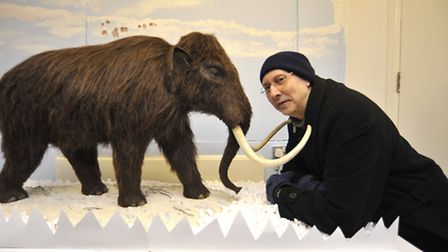 Norris Museum volunteer Chris Thomas with his Mammoth exhibition. Picture: HELEN DRAKE.