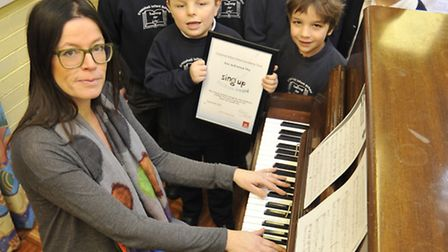 Crosshall Infants School, have won a platinum award from 'Sing Up.Org' in recognition and celebratio