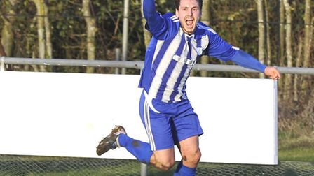 Mike Hyem scored twice in Rovers' exit from the Hinchingbrooke Cup.