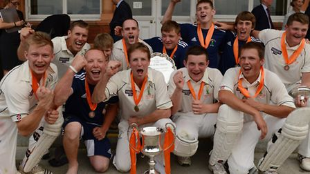 Reed celebrate after clinching the Yorkshire Tea National Village Cup following an impressive victor