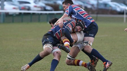 Ollie Cooper Miller and Andrew Daish combine for a tackle