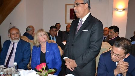 St Albans MP Anne Main with Bangladesh High Commissioner Md. Abdul Hannan (standing) at Zaffran Indi