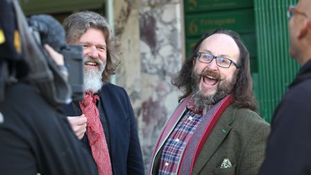 Si King (L) and Dave Myers (R) otherwise known as The Hairy Bikers during filming for a BBC show out