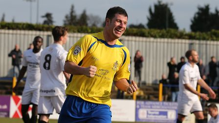 The joy of a win is all over John Frendo's face after putting the Saints two up. Picture: Leigh Page