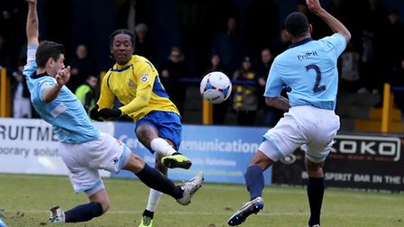 Jamal Lowe has a shot at goal. Picture: Leigh Page