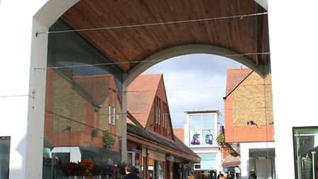 ID shot of St Albans Town Centre, Market Place, Entrance to Christopher Place