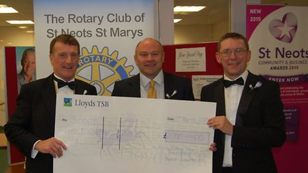 Rotary Club president David Lawrence, Brian Moore and Stephen Moody of Scope.