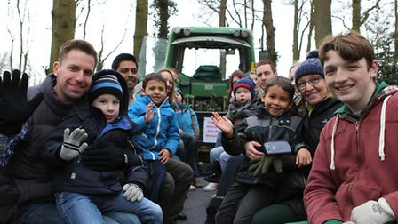 Visitors to the Oaklands college lambing weekend have fun on a tractor ride