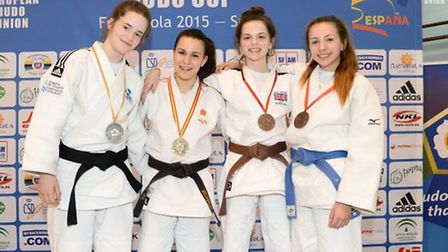 Amy Platten, second right, won bronze at the Spanish European Judo Cup.