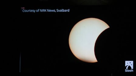 The live web cast of the solar eclipse