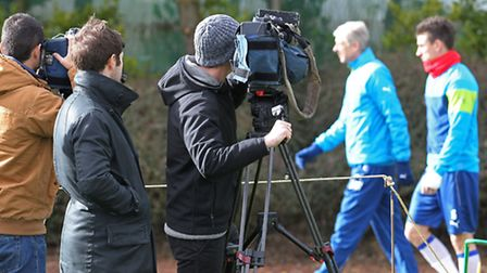 The media at the Arsenal training grounds in London Colney