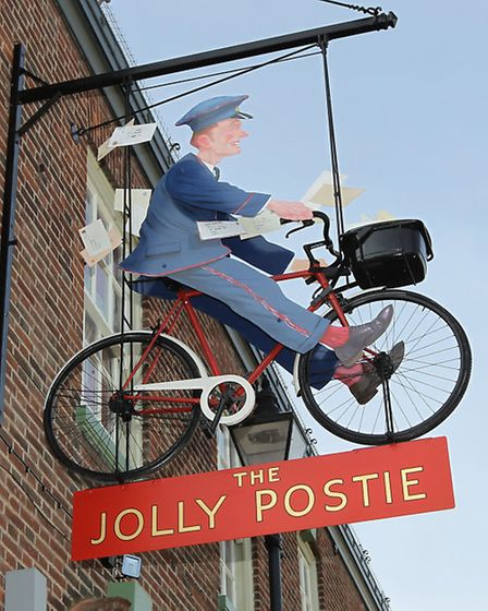 The Jolly Postie sign