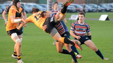 Ollie Marchon puts in a big tackle