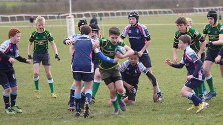 Action from Huntingdon Under 13s against Bedford in the East Midlands Plate Final.