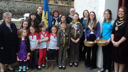 Royston girl guides at the town mayor's civic service.