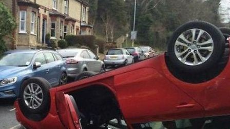 A car ended up on its roof on Barkway Road after a crash earlier this month.