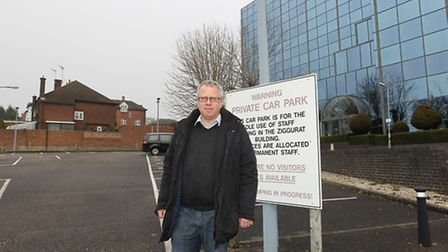 Cllr Chris White in the car park for the Ziggurat building on Grosvenor Road which is the proposed s