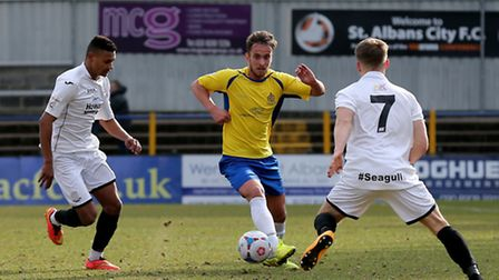 Sam Corcoran in action against Weston-super-Mare. Picture: Leigh Page