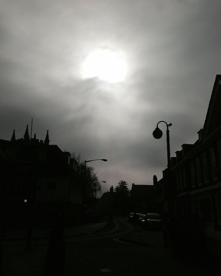 The solar eclipse as seen from Huntingdon High Street. Picture: LAUREN NASH