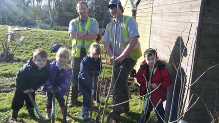 Pupils, from left, Alfie, Mya, Lucy and Hayden at Holywell School learnt all about being tree surgeo
