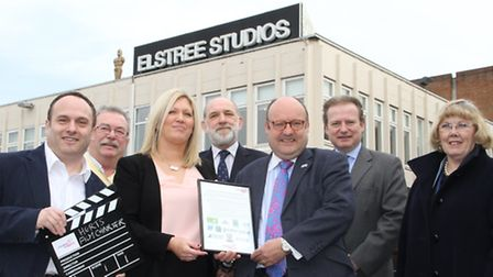 St Albans signs new film friendly charter. Pictured, from left, are: Cllr Morris Bright (Hertsmere),