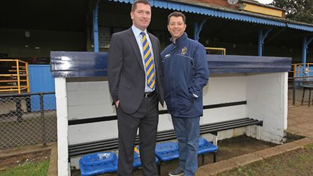 St Albans FC owners John McGowan and Lawrence Levy in the home dugout