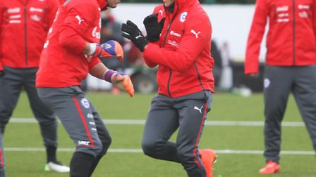 Chile train at Arsenal's training ground in London Colney in preparation for their friendly with Bra