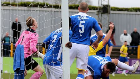 John Frendo fires just over the bar. Picture: Leigh Page