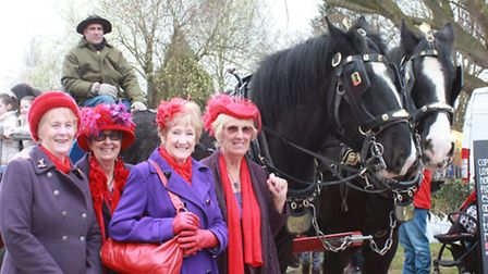 Ladies from the Norfolk Broads Red Hat Society.