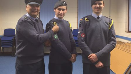 Cadet sergeant Alex Rowson-Brown (middle) and cadet flight sergeant Martin Walls and the other is th