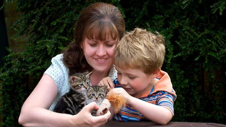 Moggie midwife Helen Foster-Henson and her son Ben with some kittens.