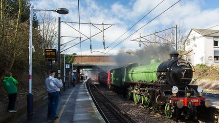 The Mayflower steam engine coming through Royston railway station on a trip between Norfolk and Lond