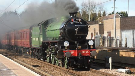 The 'Mayflower' tearing through Royston railway station. Credit: Clive Porter