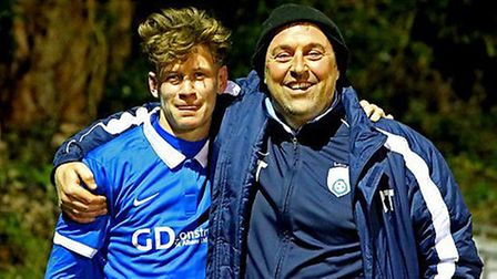 London Colney manager Ryan Thompson and match-winner Jack Woods. Picture: Jim Whittamore